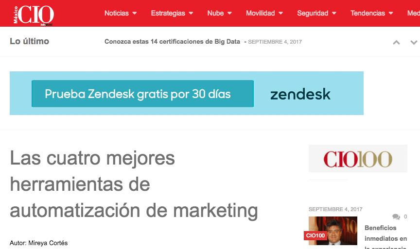 Alaniz Featured In CIO Mexico - Las cuatro mejores herramientas de automatizacion de marketing